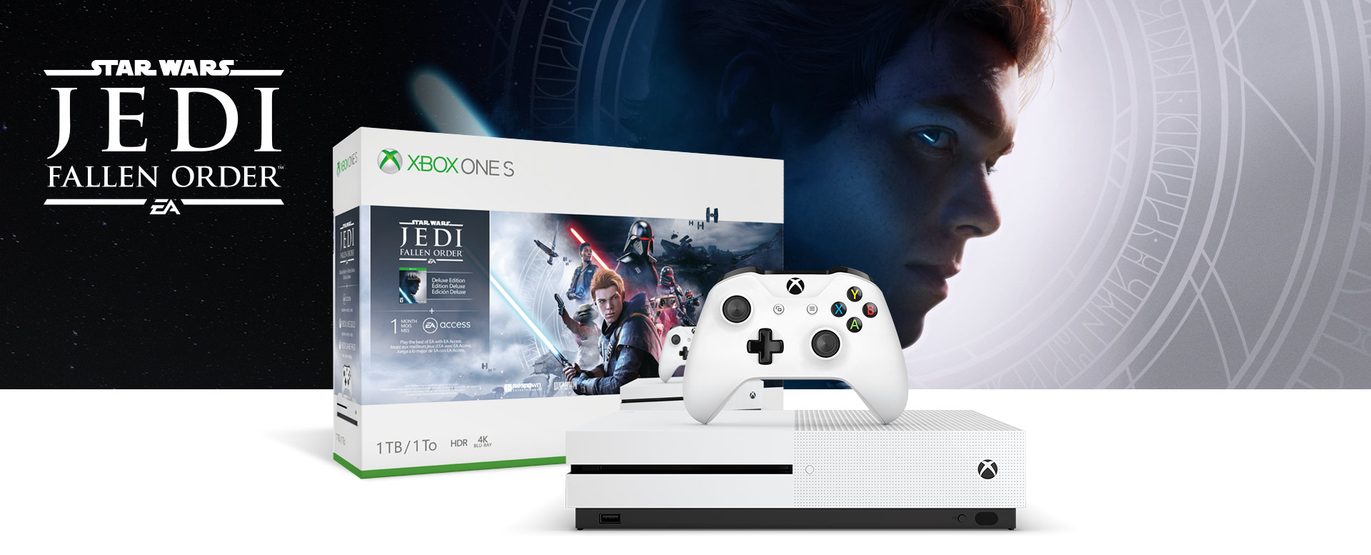 Xbox One S console in front of a hardware bundle box featuring Star Wars Jedi: Fallen Order logo
