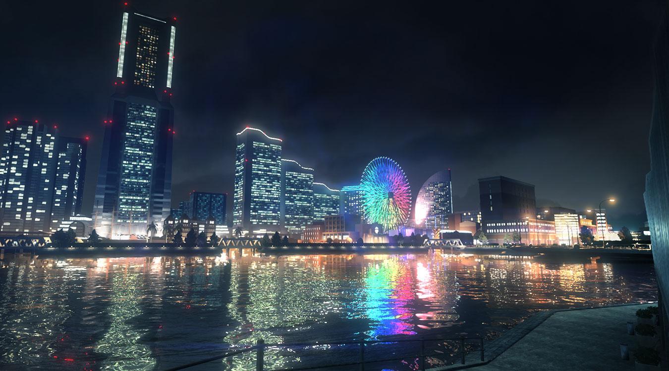 A neon lit city scape in Yakuza Like a Dragon.