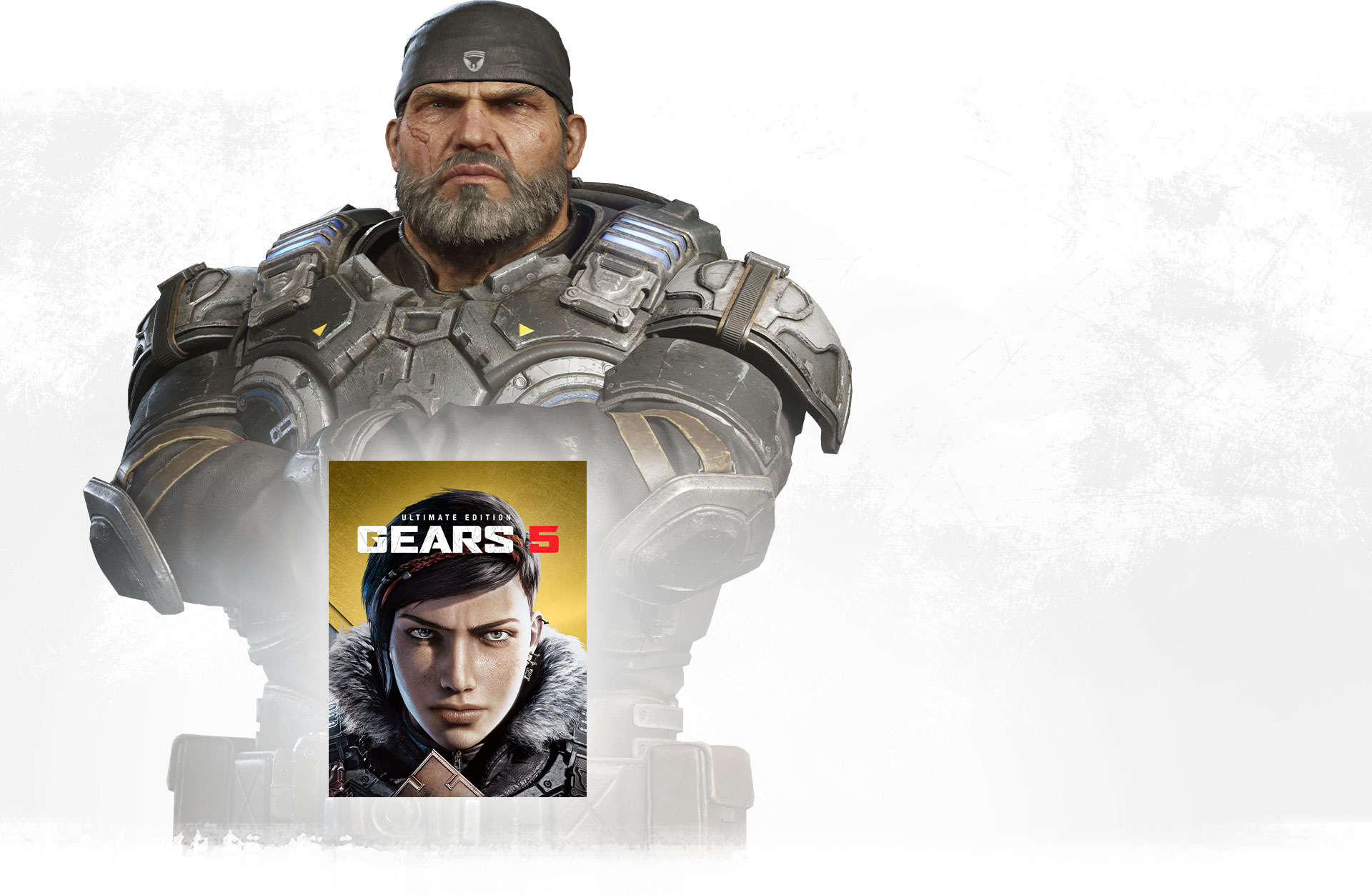 Gears 5 boxshot with Marcus Fenix standing behind with arms crossed