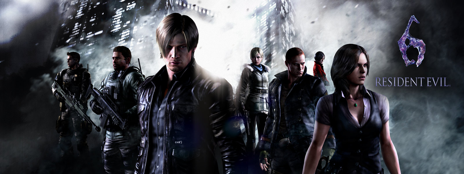 Resident Evil 6, all resident evil characters standing in front of ominous sky scrapers
