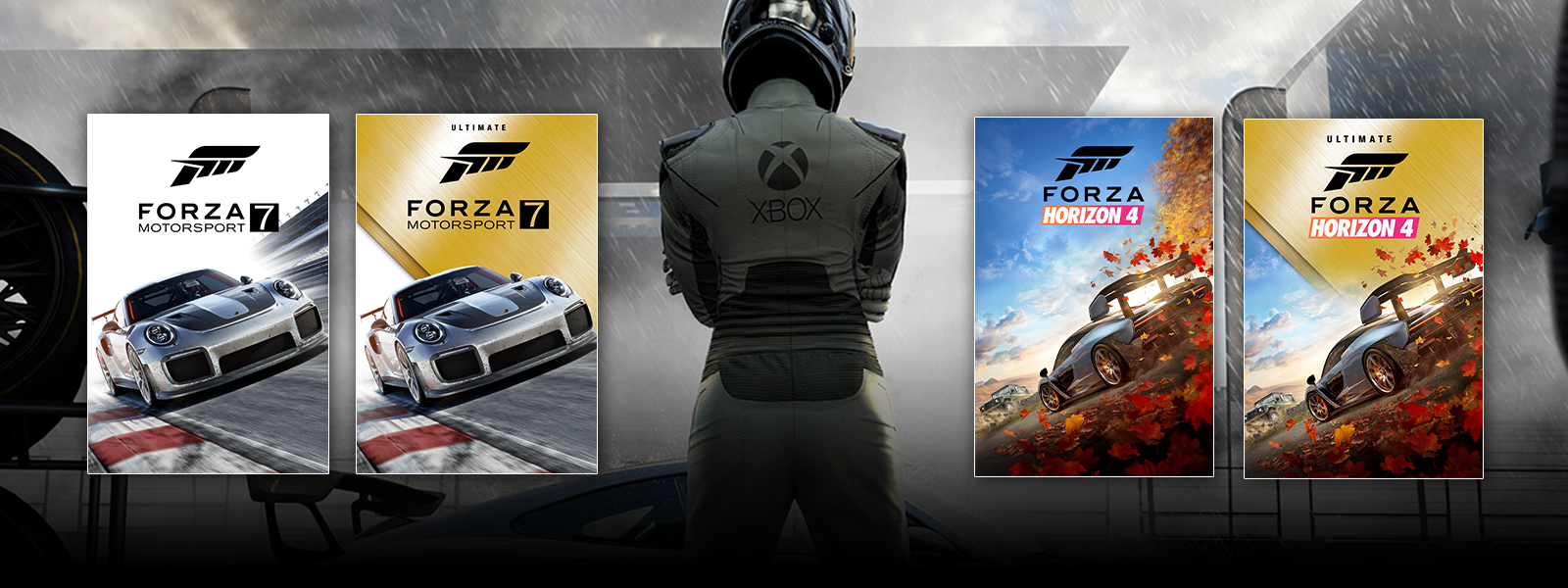 A driver stands between two sets of Forza game box shots.