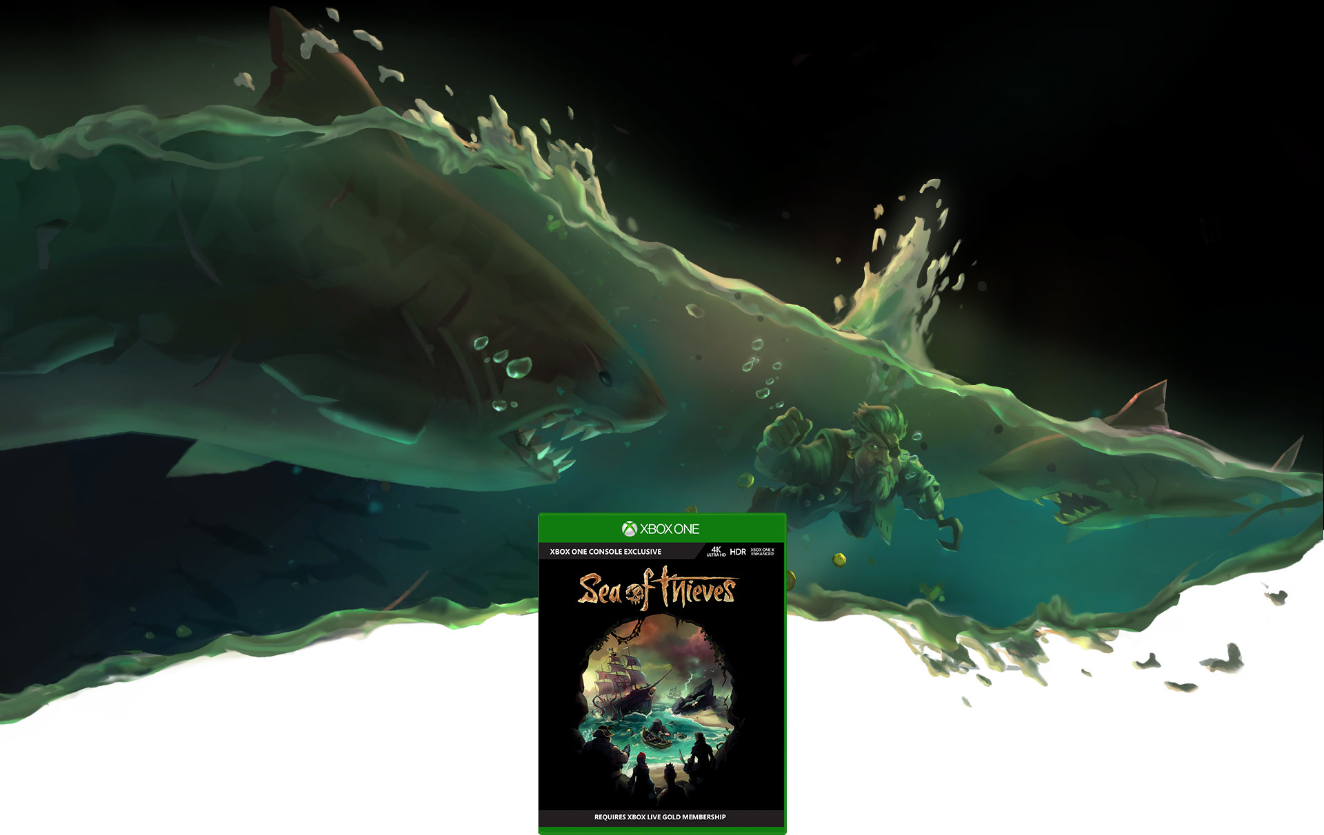 Sea of Thieves boxshot, background scene of a pirate underwater with sharks attacking him