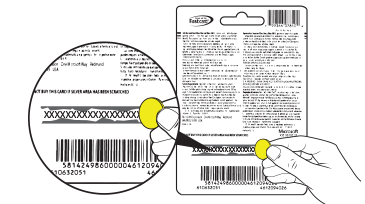 An illustration of the back of a prepaid card showing where to find the 25-digit code.