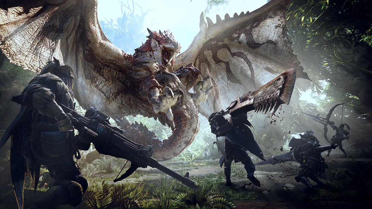 4 hunters team up to take down a flying monster called Rathalos
