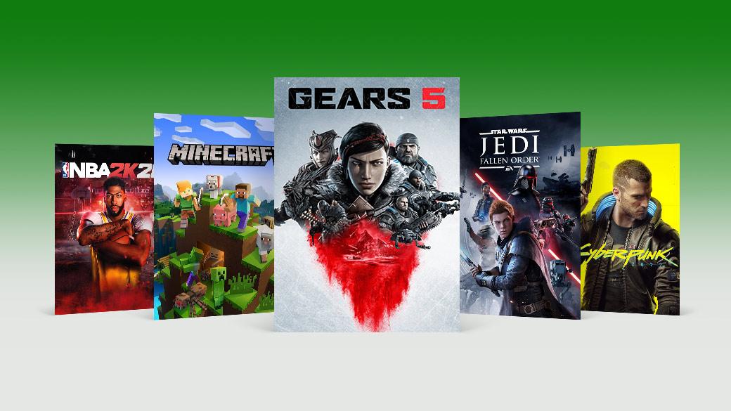 A collection of games are showcased. From left to right: NBA 2k20, Minecraft, Gears 5, Star Wars Jedi Fallen Order, and Cyberpunk 2077.