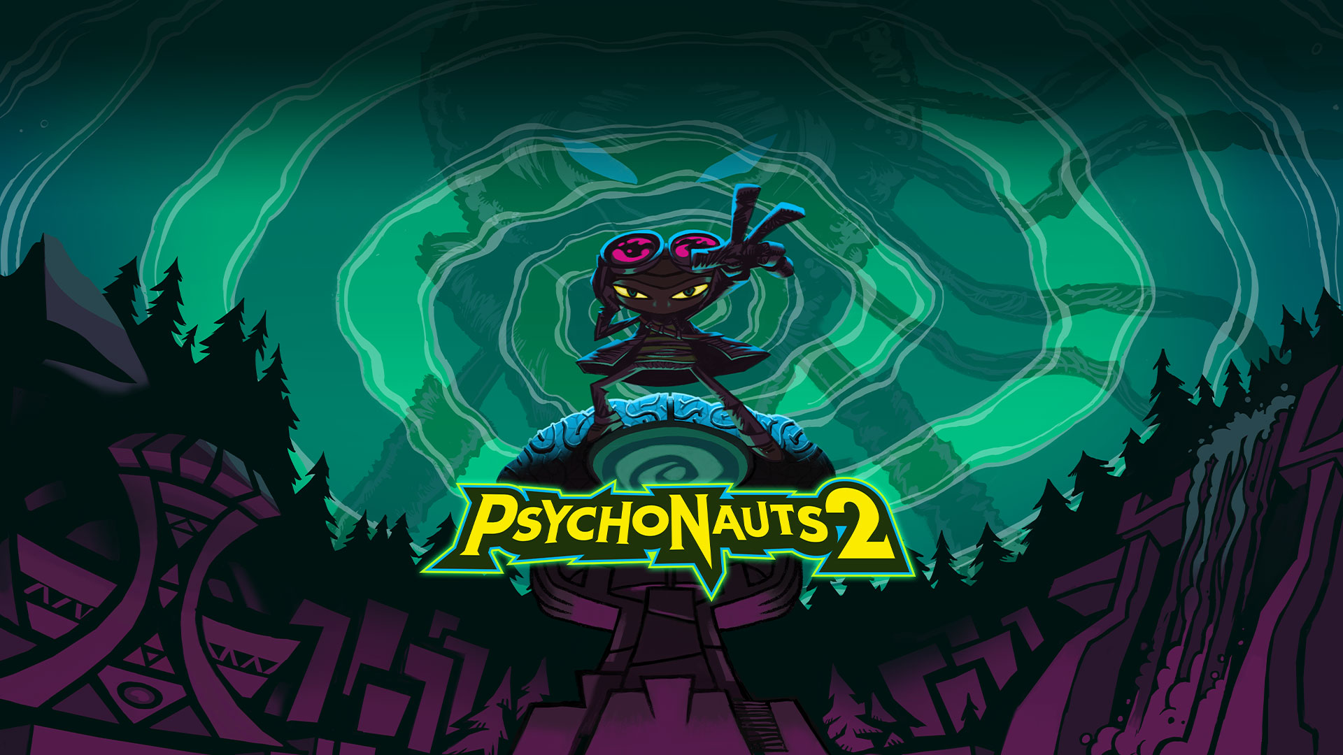 Psychonauts 2 logo, character standing with their hand out with a dark forest and a large character stands behind them with green spiral sky