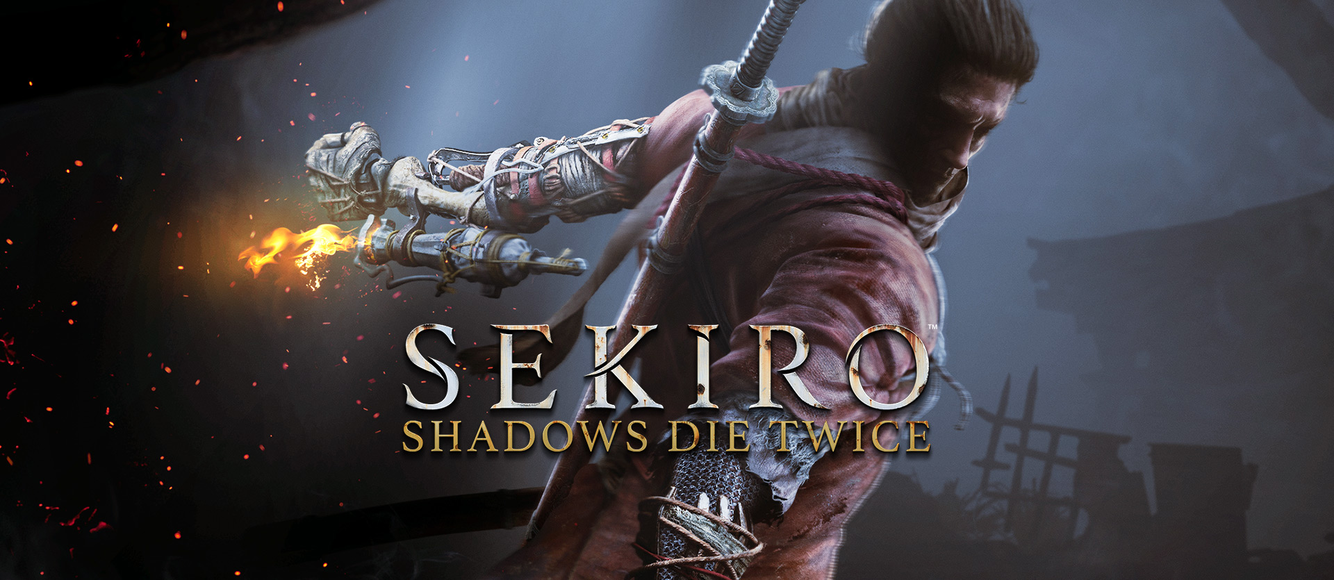 Sekiro: Shadows Die Twice: a Samurai wields a flamethrower from his makeshift arm
