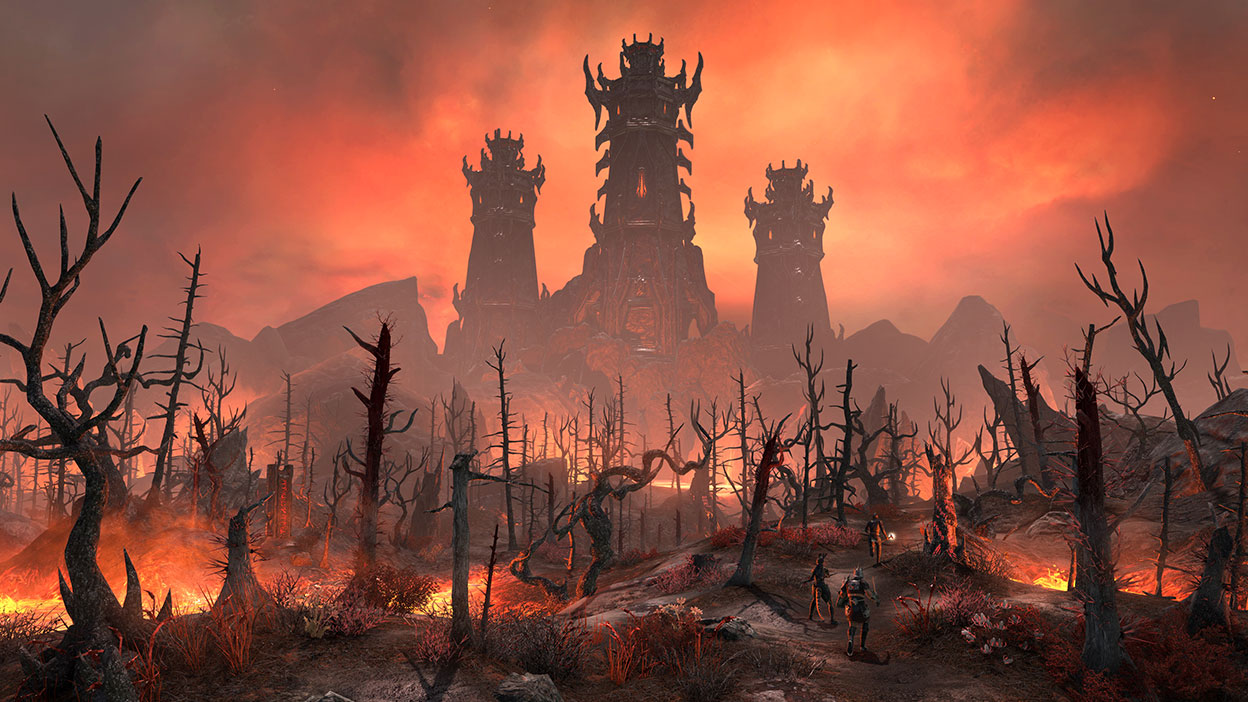 Three characters making their way towards three large buildings in a torched forest
