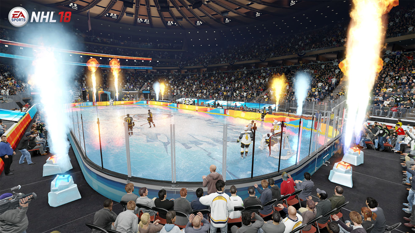 view of NHL hockey rink with visual effects happening around it