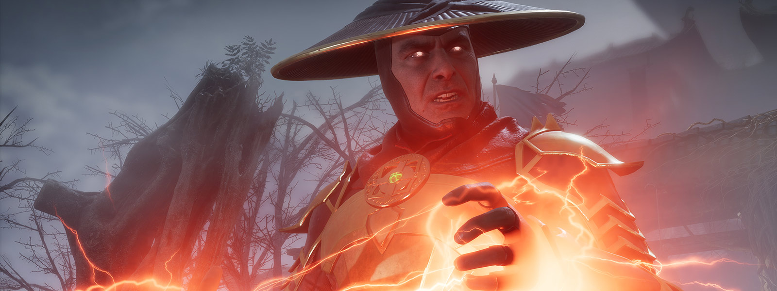 Front view of Raiden as he charges electricity between his hands