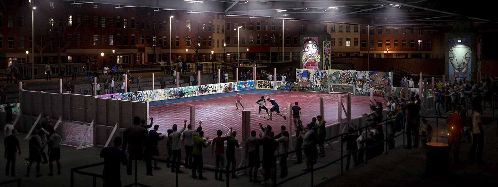 Characters playing street football in a cage while many people watch