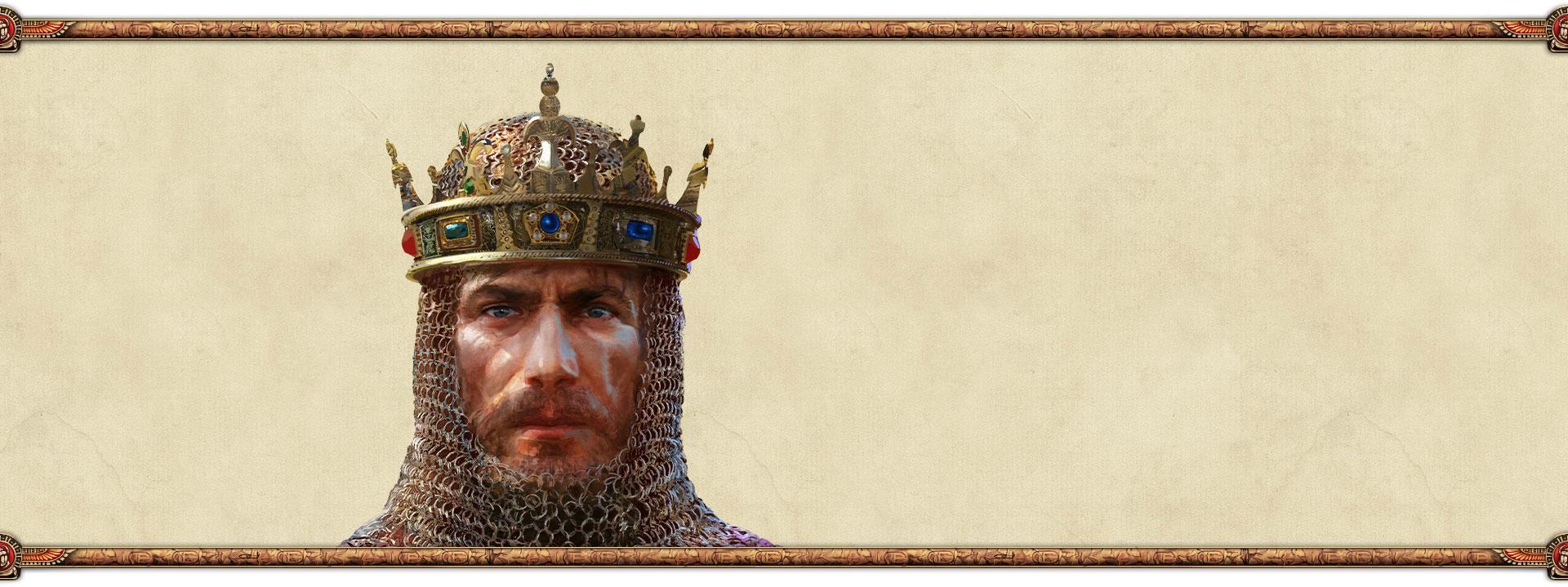 En konge med krone set forfra