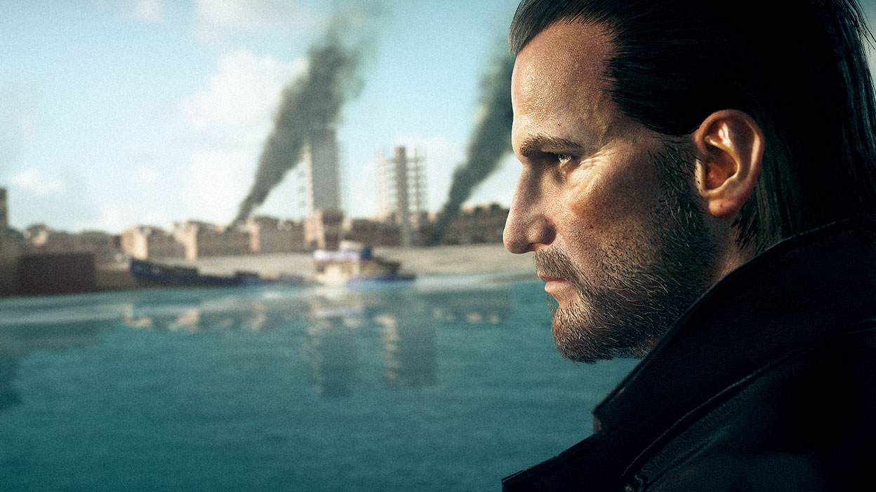 Lucas Grey looks over the water where a boat is sinking and a city is burning