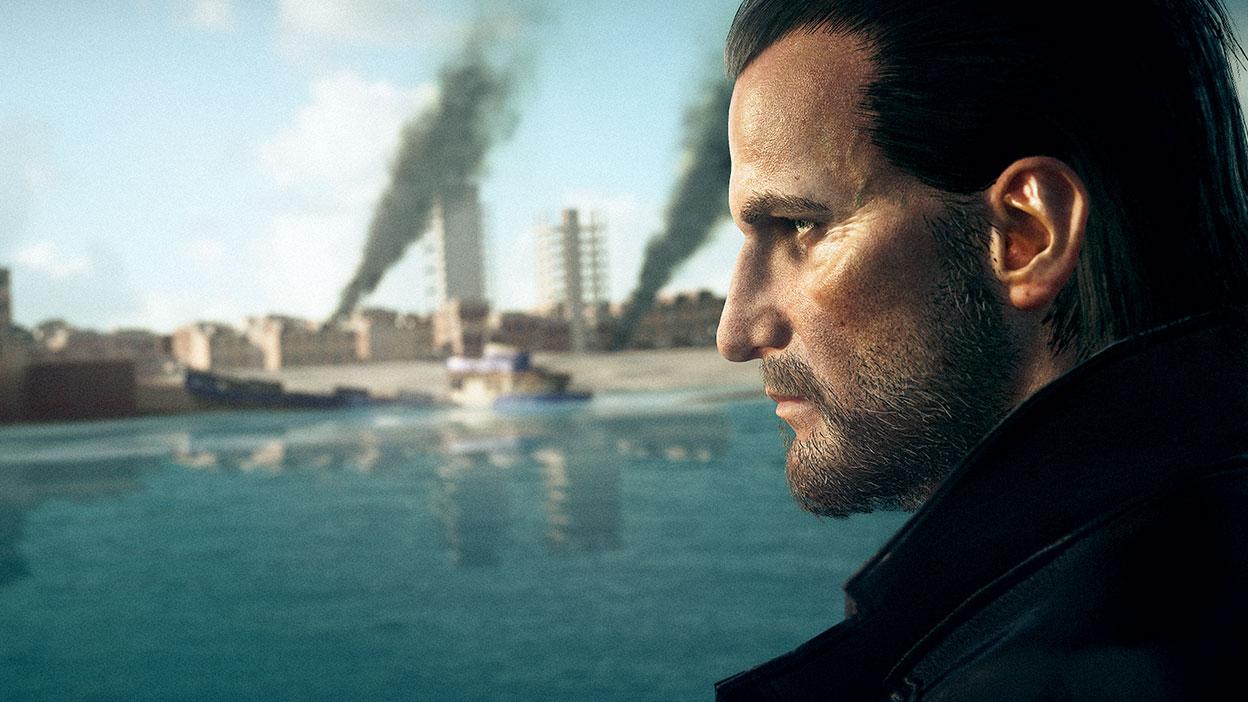 LucasGray regarde au loin l'eau où un bateau coule et une ville brûle