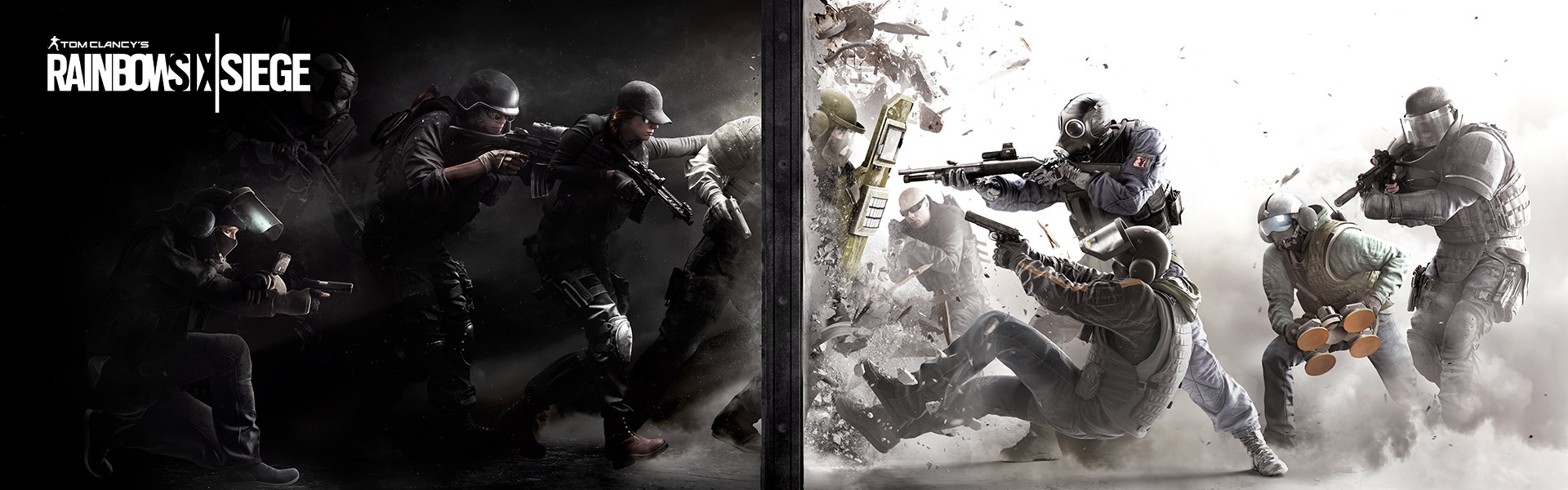 Tom Clancy's Rainbow Six Siege: a group of operators break open a wall with a riot shield and come face to face with another group of operators