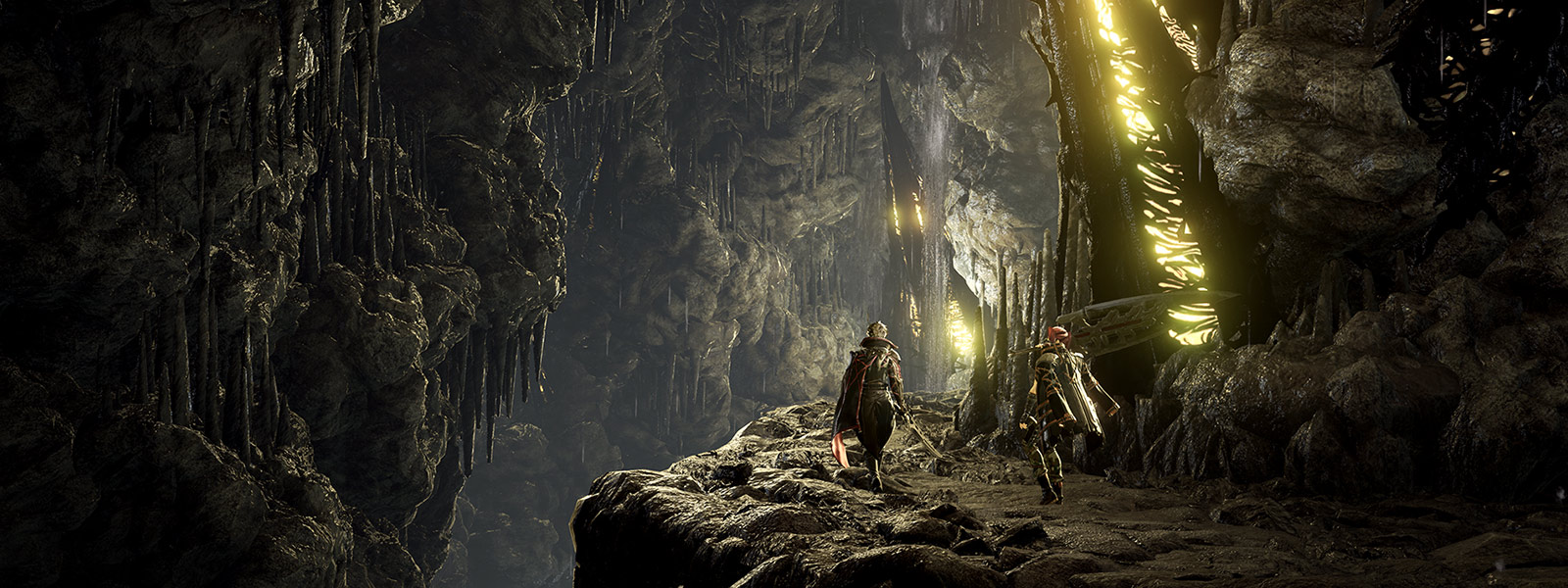 Code vein characters walk through cave of the Lost