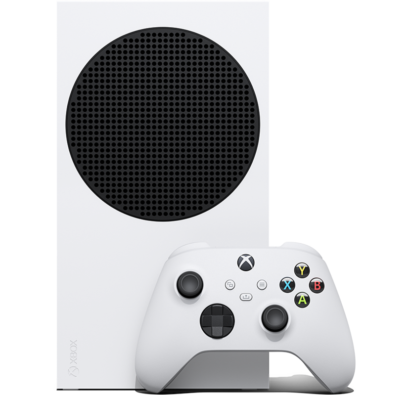 Front angle of the Xbox Series S with an Xbox wireless controller