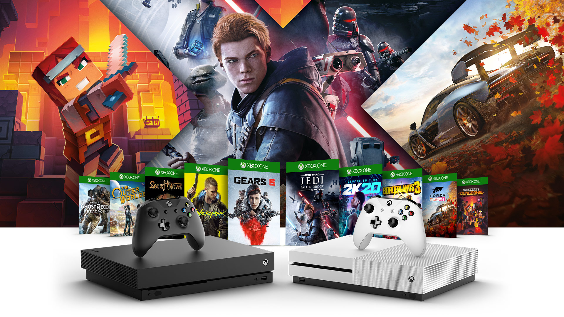 Front view of Xbox One S and Xbox One S All Digital Edition surrounded by Minecraft, Forza Horizon 4, Star Wars Jedi Fallen Order artwork with row of Xbox games