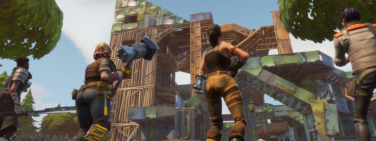 4 Fortnite characters building a fort