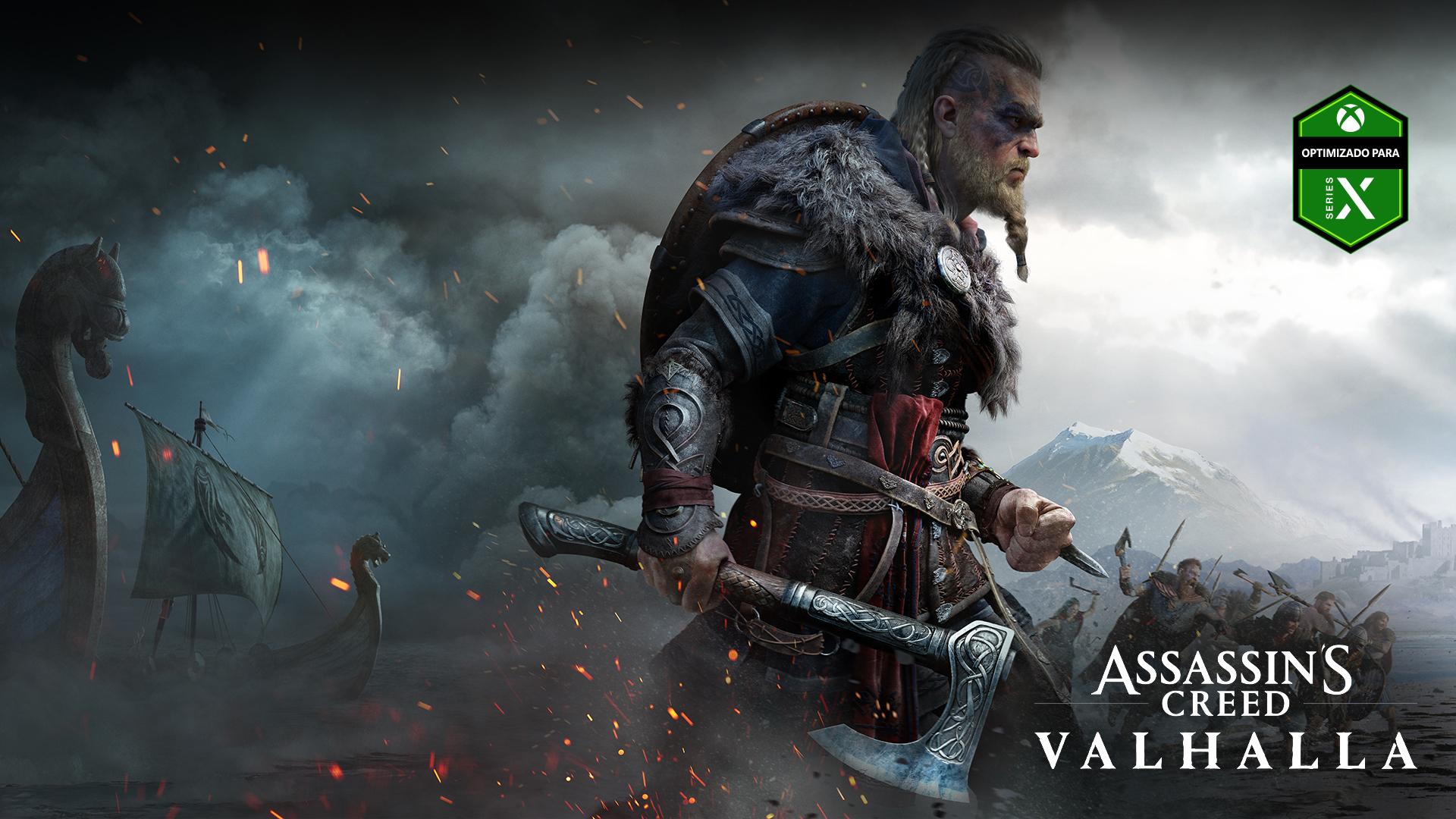Logotipo de Optimizado para Xbox Series X, Assassin's Creed Valhalla, personaje con un hacha, barcos en la niebla y una batalla.
