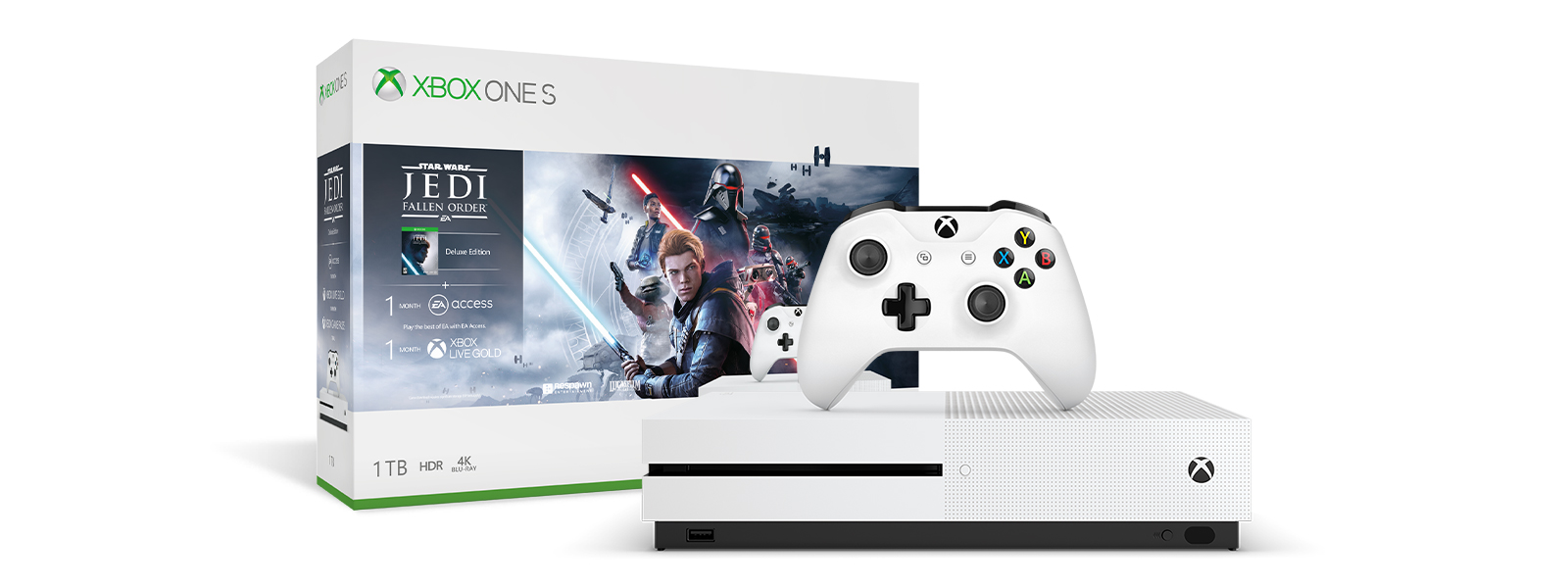 Xbox One S Star Wars Jedi Fallen Order product box and Xbox One S