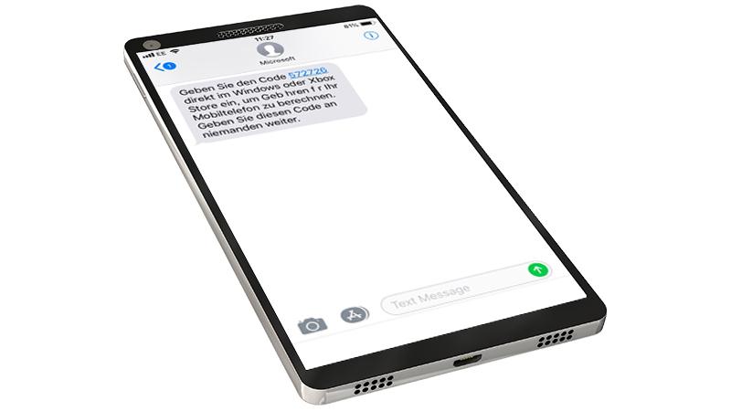 Mobiltelefon mit einer geöffneten SMS auf dem Bildschirm