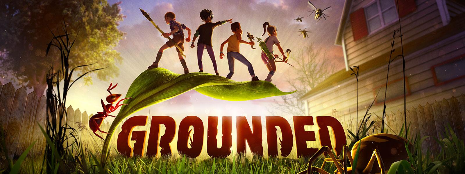 Grounded, neljä lasta seisoo pienen kasvin lehdellä hämähäkki kiivetessä heitä kohti vartta pitkin