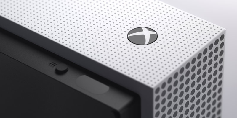 View of the Xbox One S power button