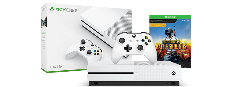 Front view of Xbox One X and S model consoles with controllers