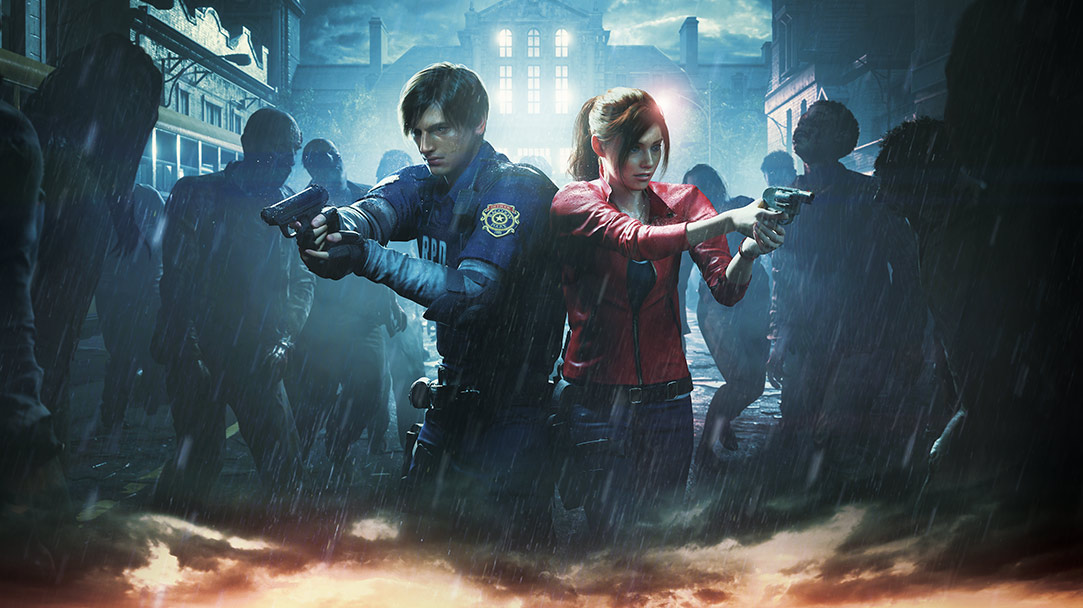 Leon Kennedy and Claire Redfield stand side by side holding up guns at surrounding zombies