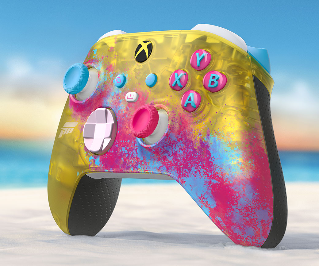 Right angle of the Xbox Wireless Controller Forza Horizon 5 on the beach in the sand
