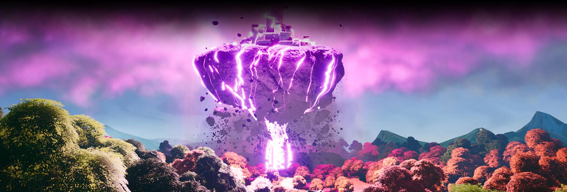 Uma cidade no topo de um pedregulho gigante eleva-se no ar cercada por um raio de tração rosa brilhante.