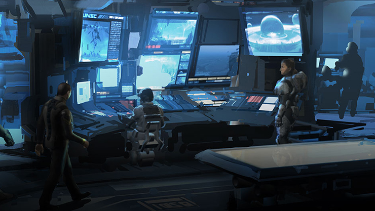 Rear view of Halo research characters standing in from computers