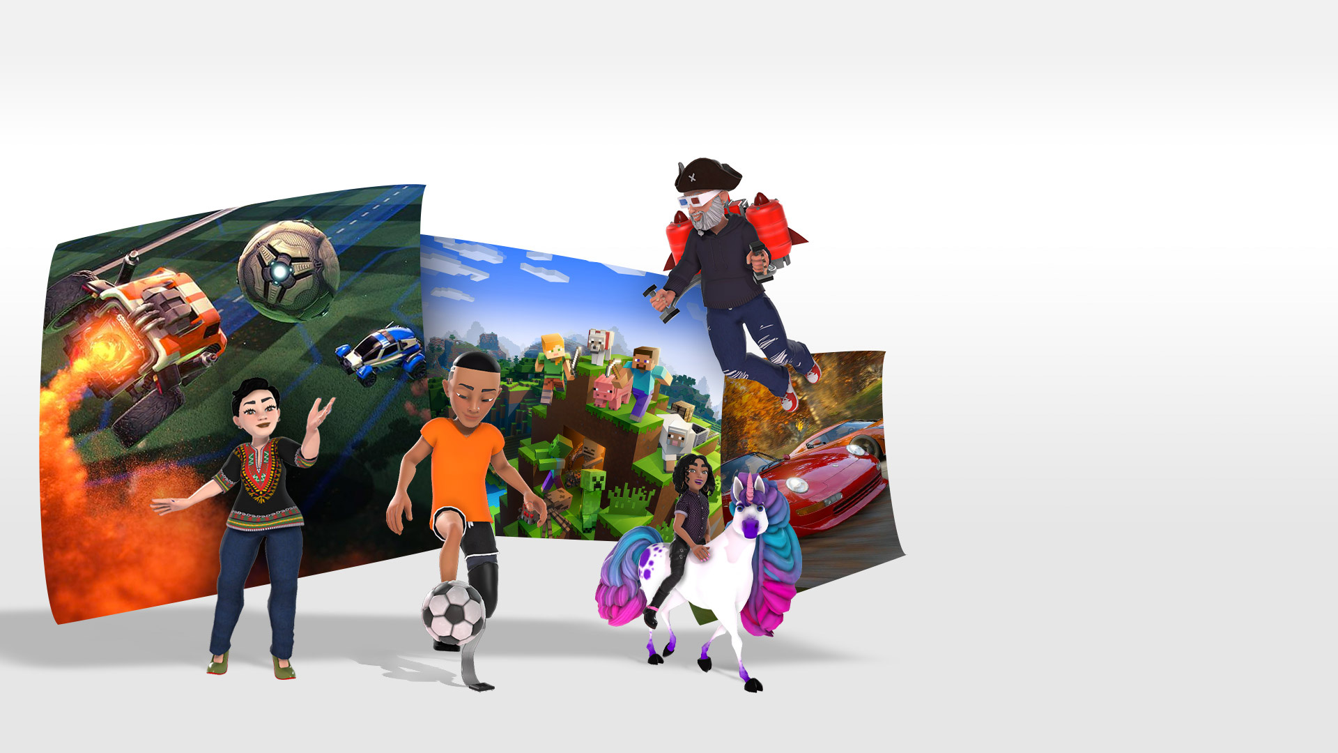Gamer avatars with gameplay images from Rocket League, Minecraft and Forza Horizon 4 behind them.