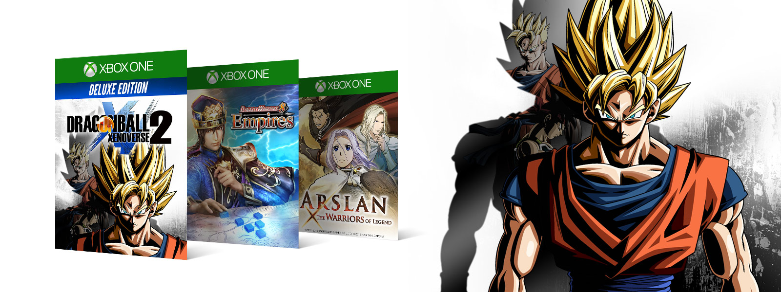 Dragonball Z graphics next to Dragonball xenoverse 2 Dynasty Warriors 6 Arslan boxshots