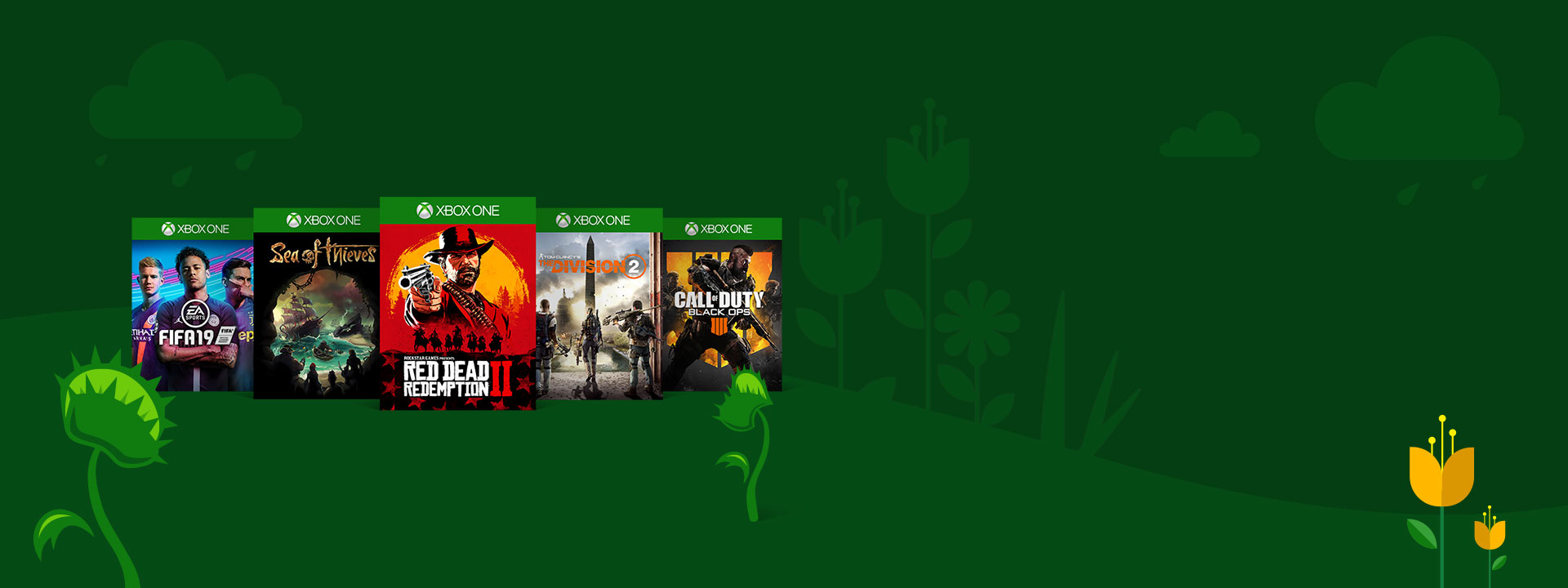 Box shots of Fifa 19, Sea of Thieves, Red Dead Redemption II, The Division 2, and Call of  Duty: Black Ops 4 on a green spring-themed background that features matching visuals, like Venus flytraps and yellow tulips