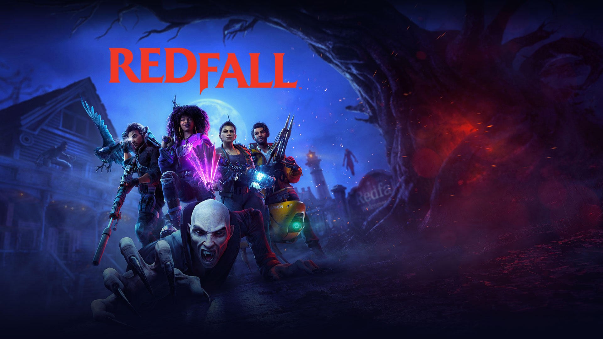Redfall, vampire clawing to get away from a squad of characters standing over it with weapons drawn ready to extinguish its existence.