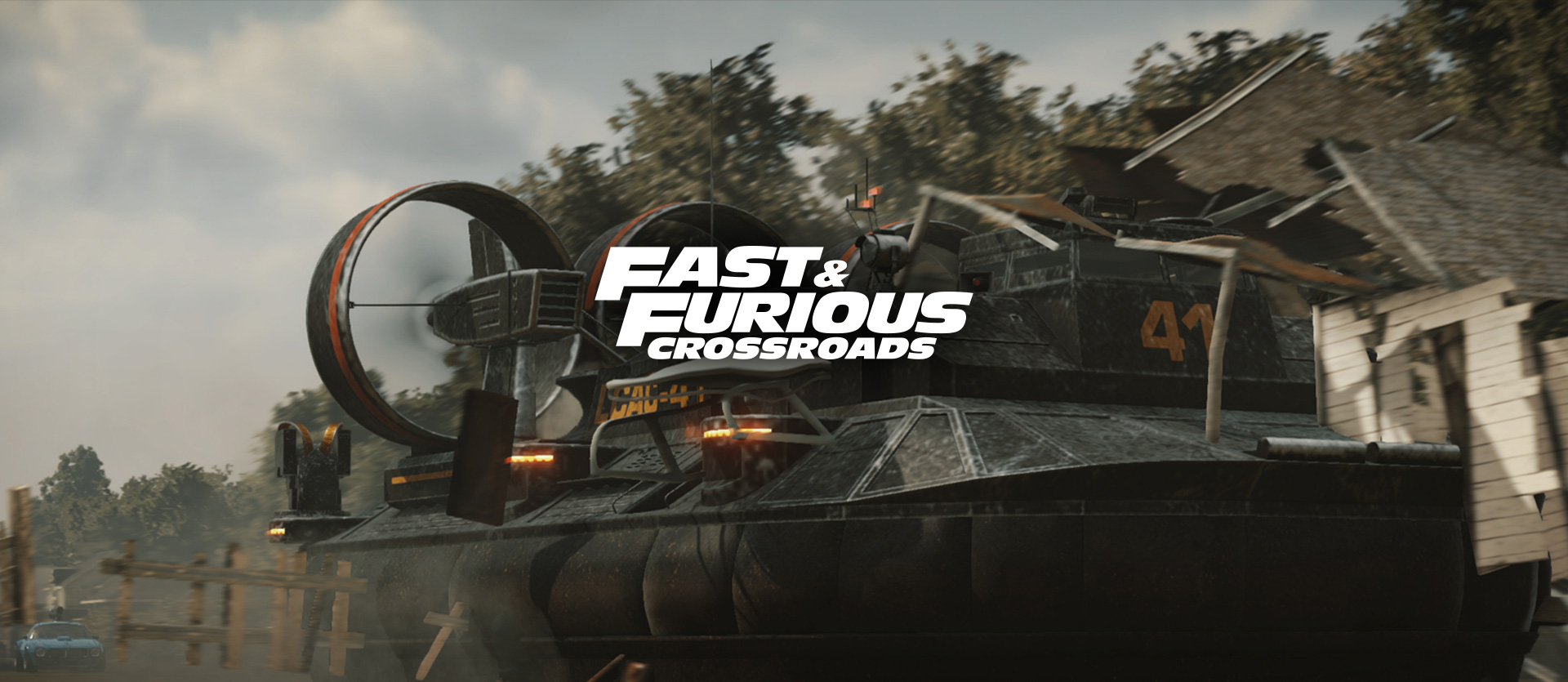 Fast and furious crossroads, a hover-boat crashes into a building