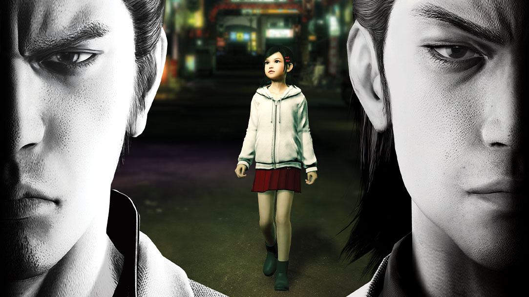Two Yakuza characters stare somberly ahead, while a little girl stands in the city behind them.